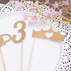 Number 3 and crown with heart sparkly gold glitter cake toppers