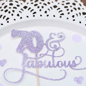 70 & fabulous lavender coloured cake topper