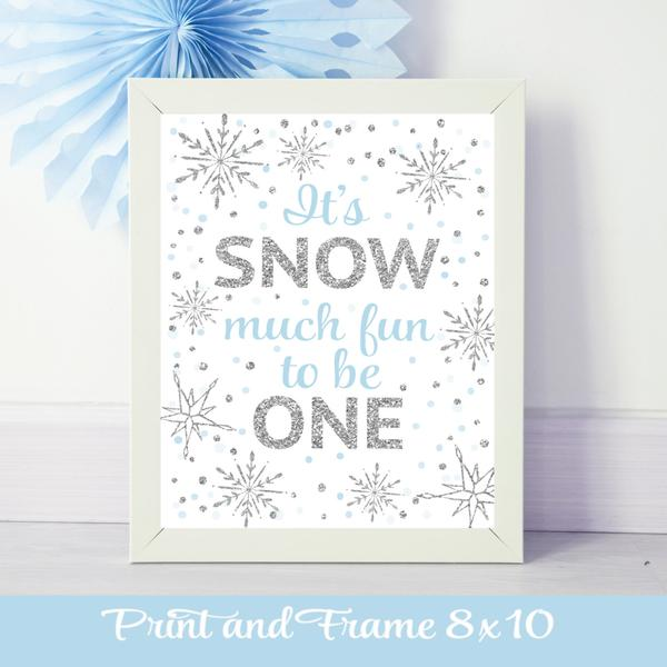 It's Snow much fun to be One blue and silver snowflake sparkle poster