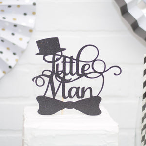 Black Little man Cake topper with top hat and bowtie