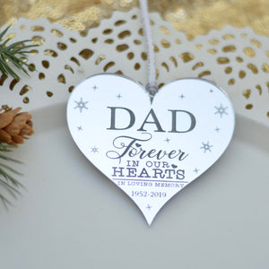 Memorial ornament for dad in silver on a cake plate