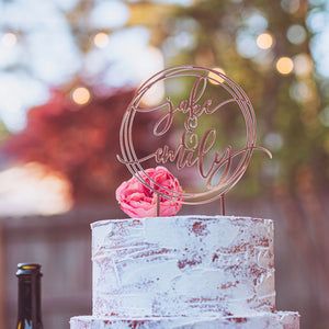 Modern Geometric Wedding Cake Topper in Gold