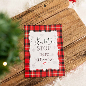 Santa Stop Here Sign Printable Sign for Christmas Eve