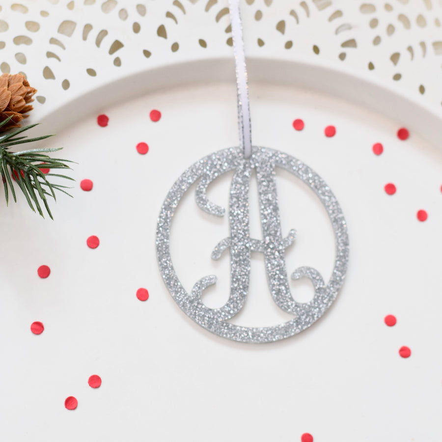 Monogram Christmas Tree Ornament for Girl or Family Name