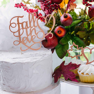 Fall in love cake topper for thanksgiving wedding