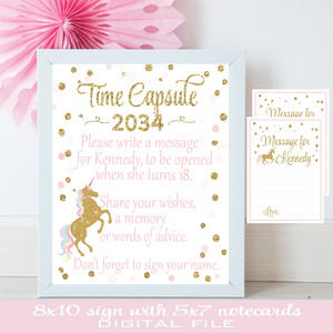 Time capsule sign for unicorn birthday in a white frame with note card for writing
