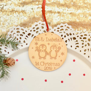 Penguin ornament with twins first Christmas for 2019