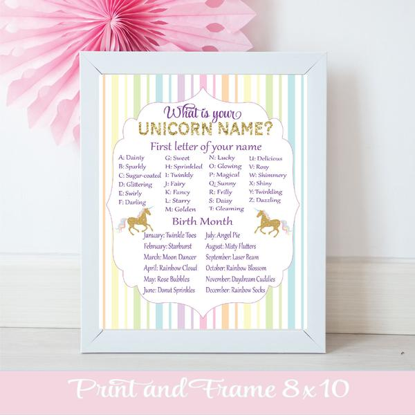 What is your unicorn name purple and gold