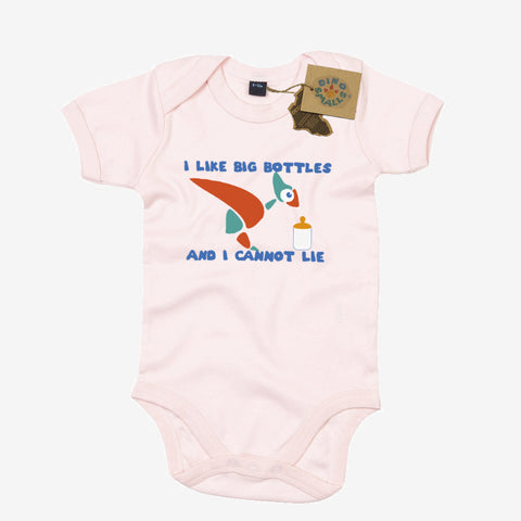 Dino Smalls I Like Big Bottles and I cannot Lie Babygrow Bodysuit