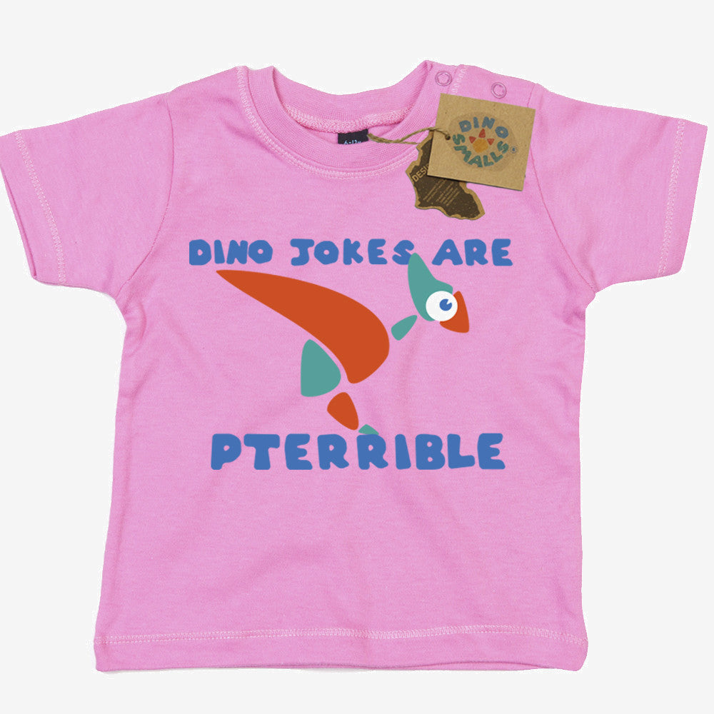 Dino Smalls Dino Jokes are Pterrible Baby Toddler T Shirt