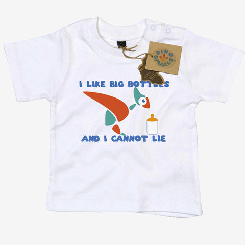 Dino Smalls I Like Big Bottles and I cannot Lie Baby Toddler T Shirt