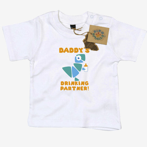 Dino Smalls Daddy's Drinking Partner Baby Toddler T Shirt