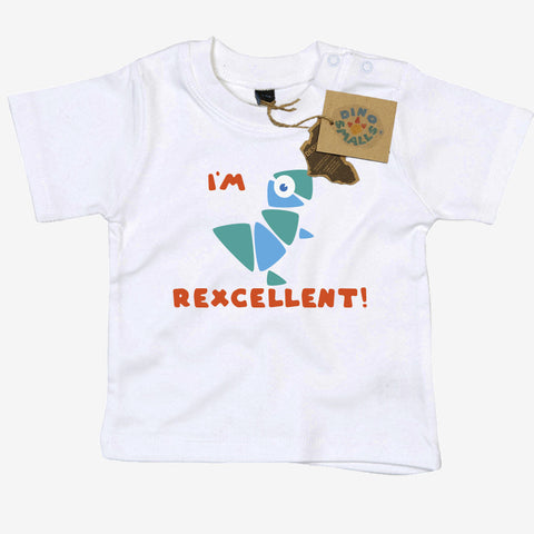 Dino Smalls I'm Rexcellent Baby Toddler T Shirt