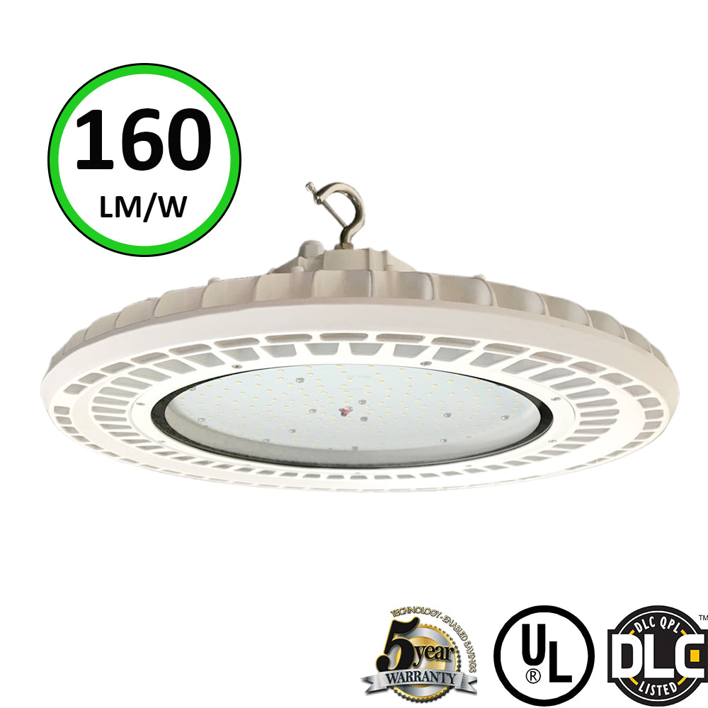 White LED UFO High bay 240W 5000K- LED Warehouse Lighting- Philips LED-DLC 5 Years warranty