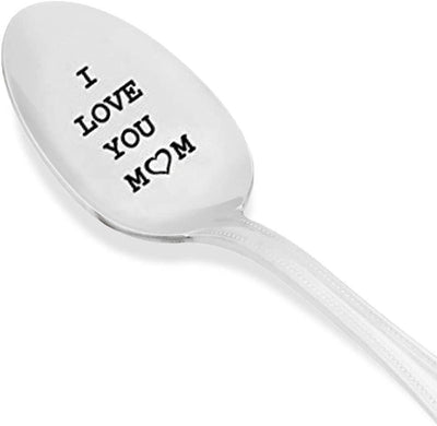 I Love You Mom Engraved Spoon Gift under 20 for Mommy Best Selling Silverware Gift Items