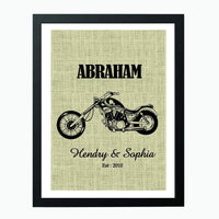 Motorcycle Lovers Unique Burlap Print Gift
