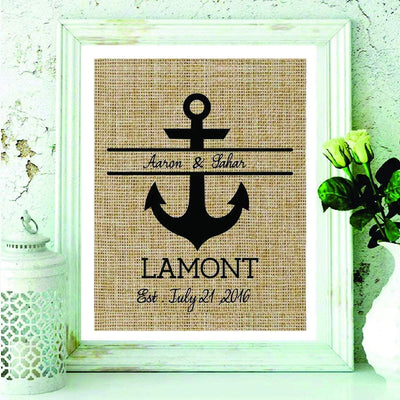 Personalized Anchor Monogram Burlap Print Nautical Wedding Gift