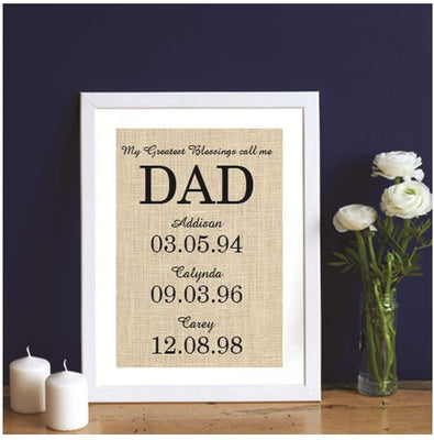 DAD Family Date Sign Burlap Print