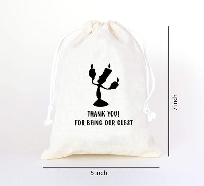 Thank You Tag Drawstring Bag Wedding Favors for Guests - Goodie Bags for Kids Birthday Bridesmaid Graduation Baby Shower - Hotel Bags for Wedding Guests - Spice Bags with Drawstring - Set of 10