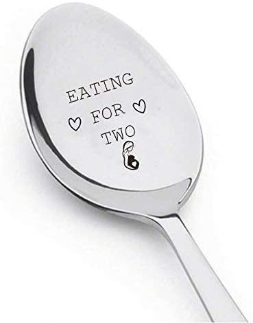 Pregnancy Gifts - Pregnancy announcement gifts - Baby shower gifts - Eating for Two spoon - Baby announcement gifts - Newly wed gifts - Grandparents gifts - Engraved spoon - 7 Inches