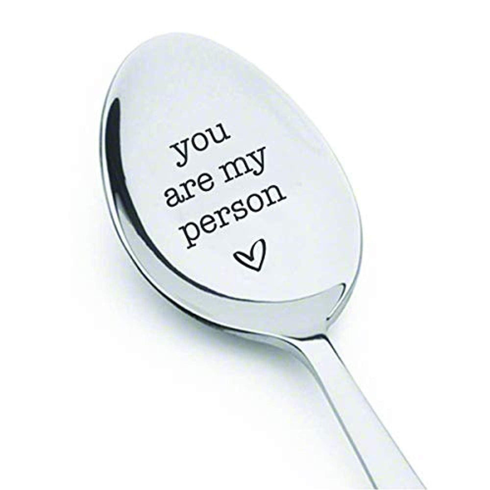 You Are My Person Spoon | Heart Engraved Spoon | Gift For Husband Fiance Wife | Wedding Anniversary Gift Spoons | Stainless Steel Engraved Spoon