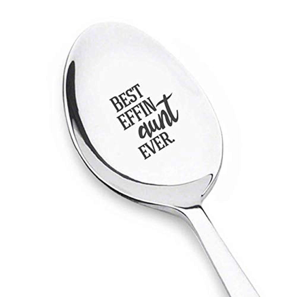 Best Effin Aunt Ever Spoon | Aunt Gifts For Christmas | Best Aunt Ever Gifts | Engraved Stainless Steel Spoon Gifts