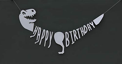 Dinosaur Birthday Banner Party Decoration Dino Dinosaur Bone Birthday Banner Unique Decorations for Dinosaur Party Supplies Jurassic T-REX Garland Party Decoration Supplies