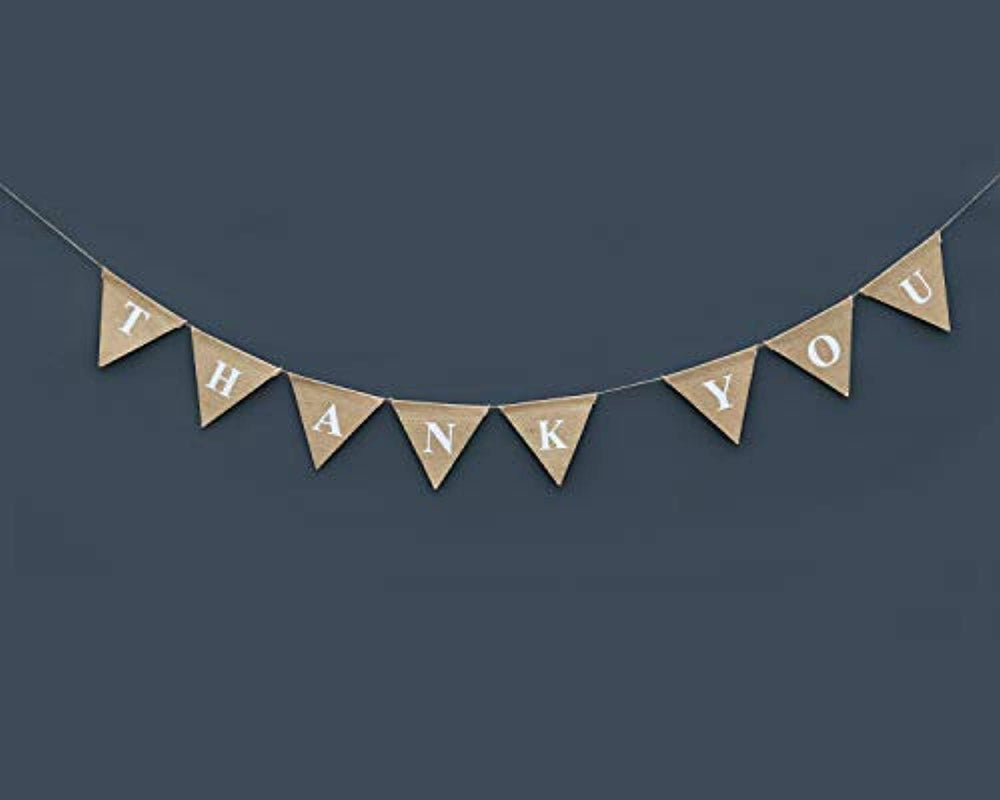 Boston Creative company Thank You Burlap Banner Wedding Bunting Card Photo Prop Rustic Sign Thankyou Hessian Celebration Party Decoration Garland