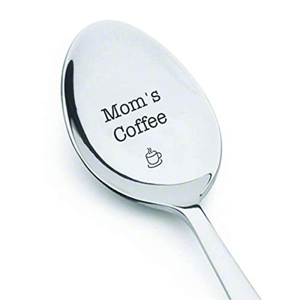 Mom's Coffee Table Dessert Spoon-Engraved Unique Gift For Mom from Son or Daughter- Birthday presentation for Mom- Mother's Day celebration remembrance-Stainless Steel Spoons-7 inches.
