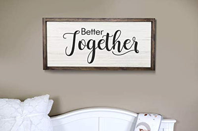 Boston Creative company Better Together Rustic Nursery Room Wood Sign Home Decor Farmhouse Style Wedding Sign Wooden Wall Art Bridal Shower Gift Couple Wedding Gift Room Plaque Sign