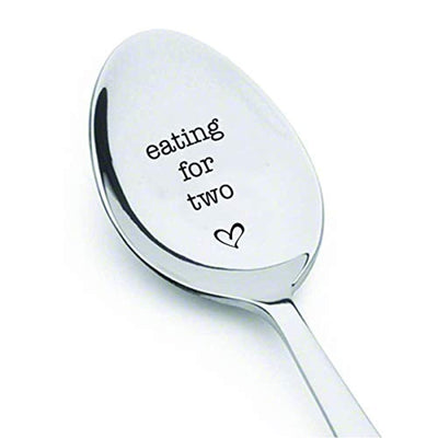 Eating For Two Spoon | Heart Engraved Tea Spoons | Cute Lovers Gifts | Gifts To Pregnant Mothers | Stainless Steel Engraved Tea Spoons