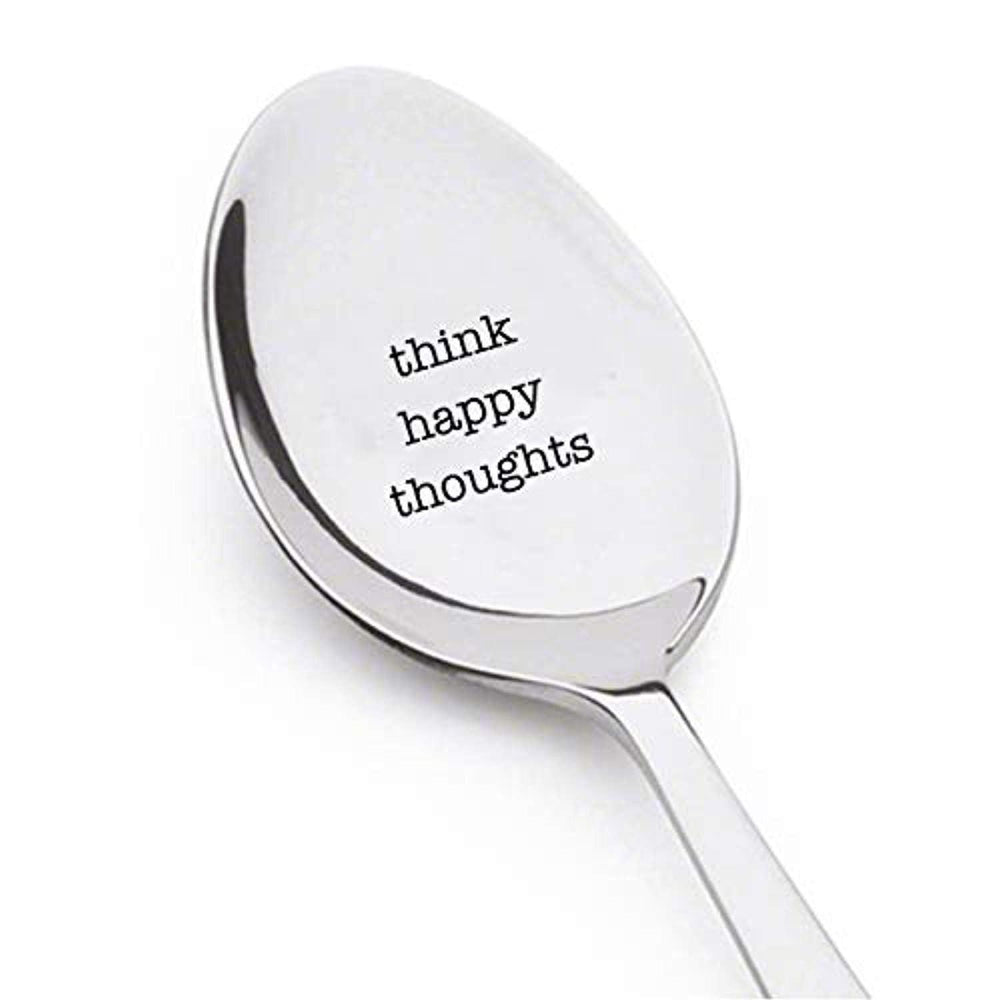 Motivational Good Vibes Gifts For Best Friends-Think Happy Thoughts Engraved Spoon