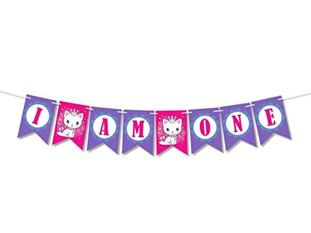 I am one banner baby First birthday decorations for girl creative banner -One Year party supplies-Rose and Violet theme birthday party favor decor-fun deco party 1st birthday happy birthday banner