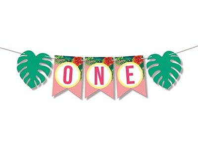 One Banner High Chair Vintage Happy Birthday Or Baby Shower Decoration For Girl-Floral First Birthday Green Tropical Palm Leaf Banner Girls- Pink Smash Cake Decor For Tea Or Garden Party hanging One year banner