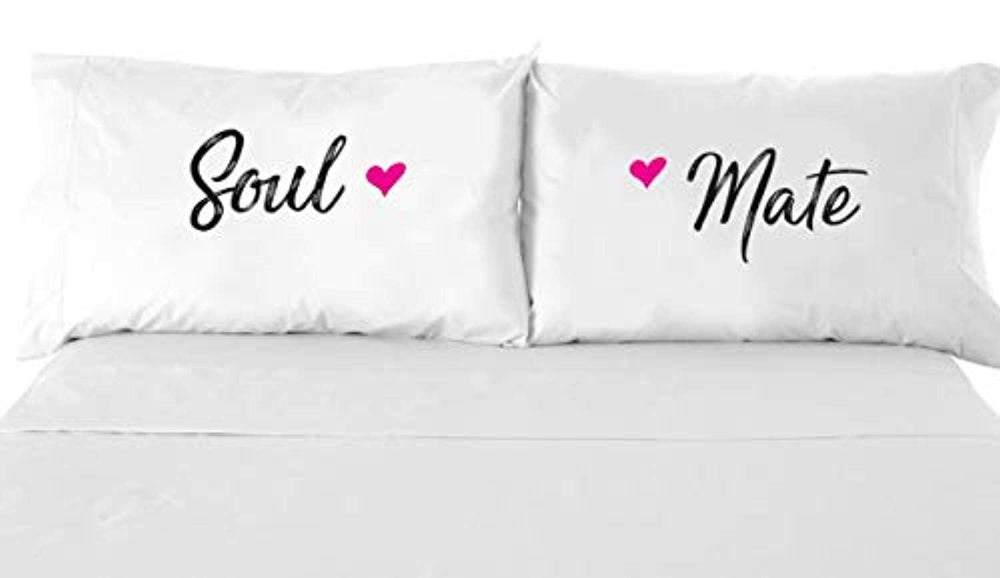 Couples Gifts - Printed Pillowcase - Wedding Gifts - Newlywed gifts - Soul mate Pillow Case - White Pillow Cover – Bedroom Decor - Set of 2 - Couples Pillowcases