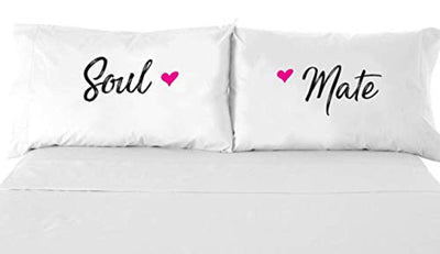 Signatives Couples Gifts - Printed Pillowcase - Wedding Gifts - Newlywed gifts - Soul mate Pillow Case - White Pillow Cover – Bedroom Decor - Set of 2 - Couples Pillowcases