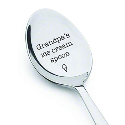 Grandpa's Ice Cream Spoon | Grandpa Gift Ideas | Birthday Gifts For Grandpa | Engraved Stainless Steel Spoon