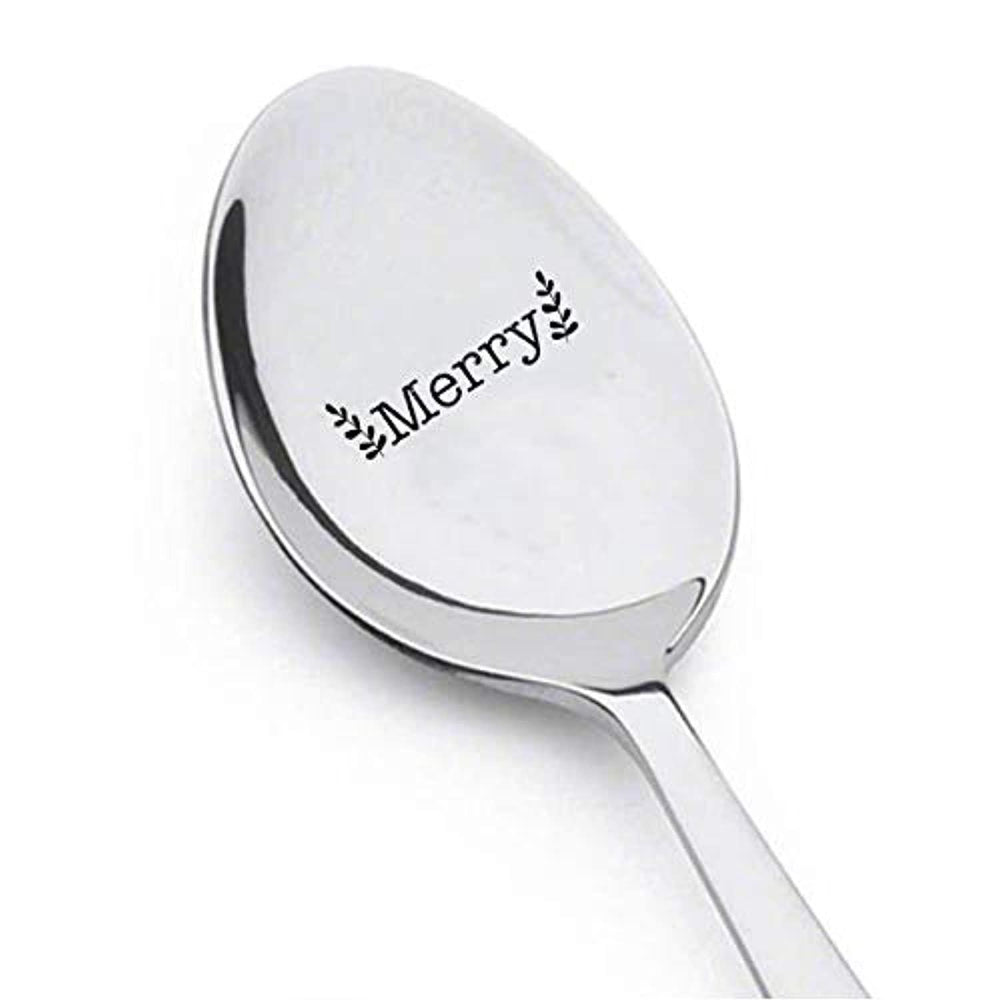 Merry engraved spoon for Christmas Gift, Engraved silverware for holiday decor