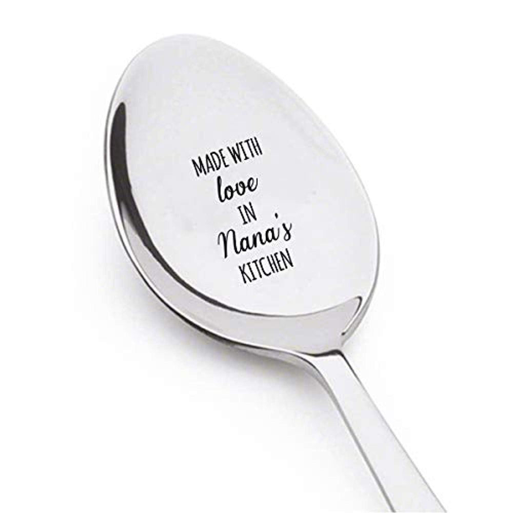 Made With Love In Nana's Kitchen Engraved Stainless Steel Spoon Token Of Love Gifts For Grandpa Grandfather From Grandchildren On Birthday Anniversary And Special Occasions