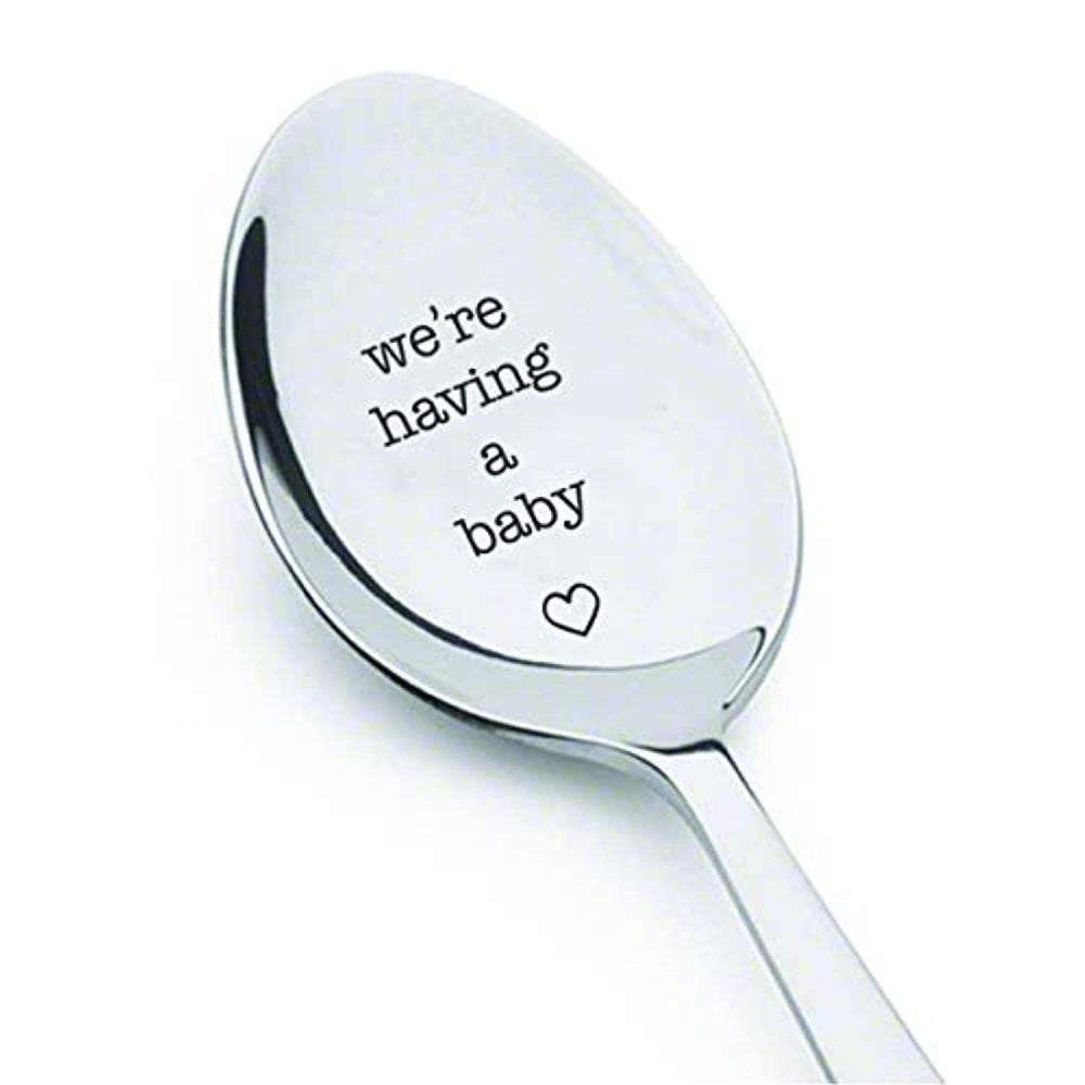 We're having a baby Engraved Spoon Surprise Pregnancy Gift For Parents
