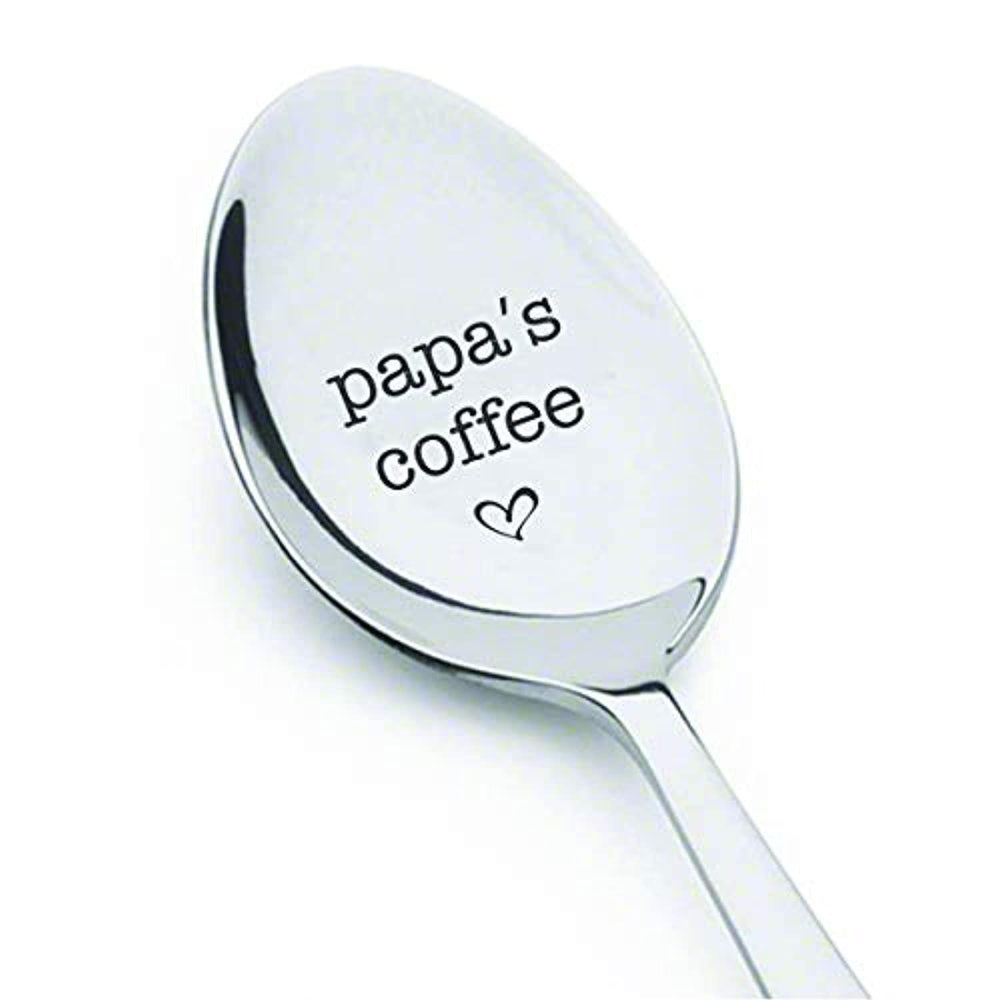 Papa's Coffee Table Dessert Spoon-Engraved Unique Father's Day Gift from Son or Daughter- Birthday Remembrance for Dad -Stainless Steel material- Size of the Product 7 inches.