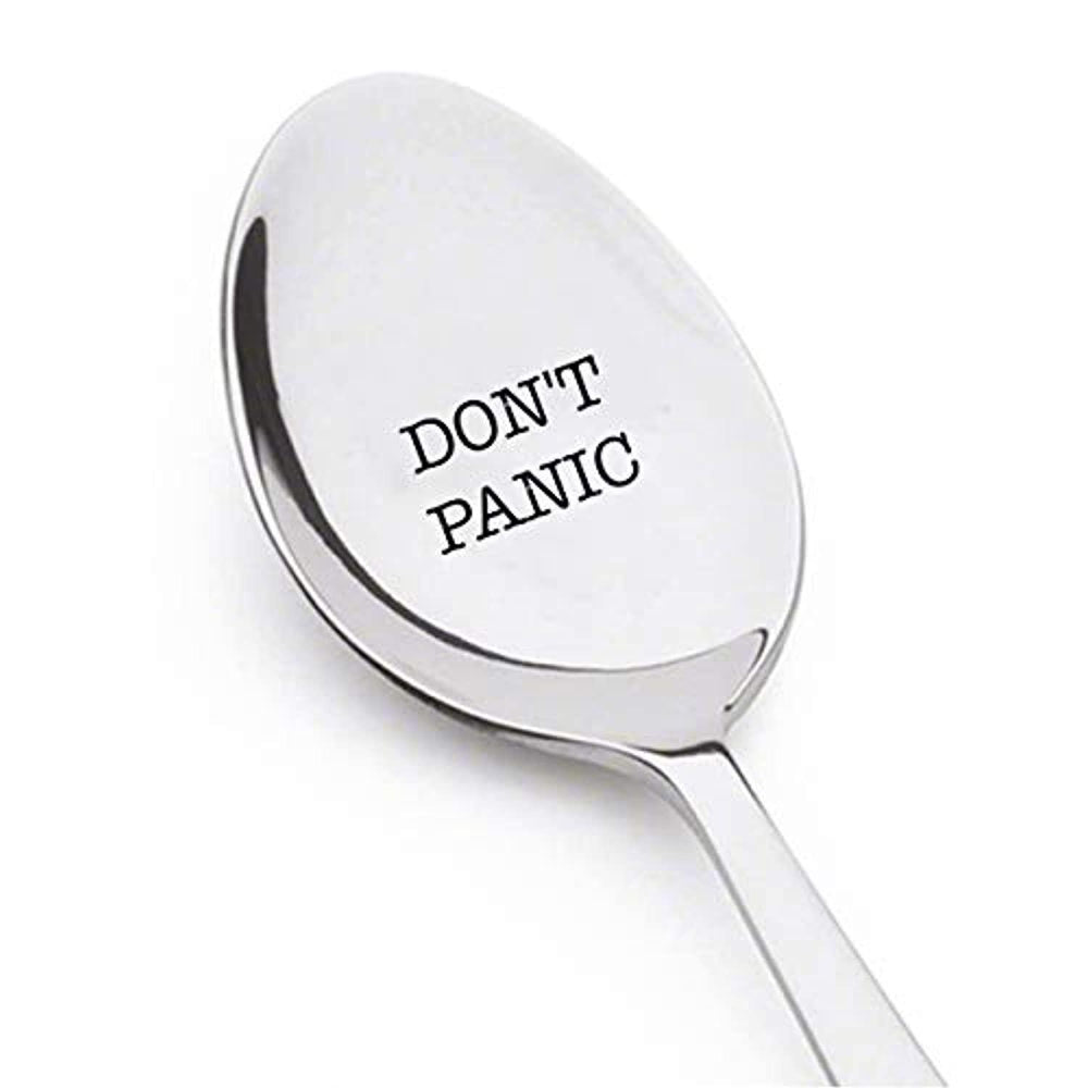 DON'T PANIC Spoon- Birthday Gifts For Teen Girls -Engraved Christmas Present For Mom Dad