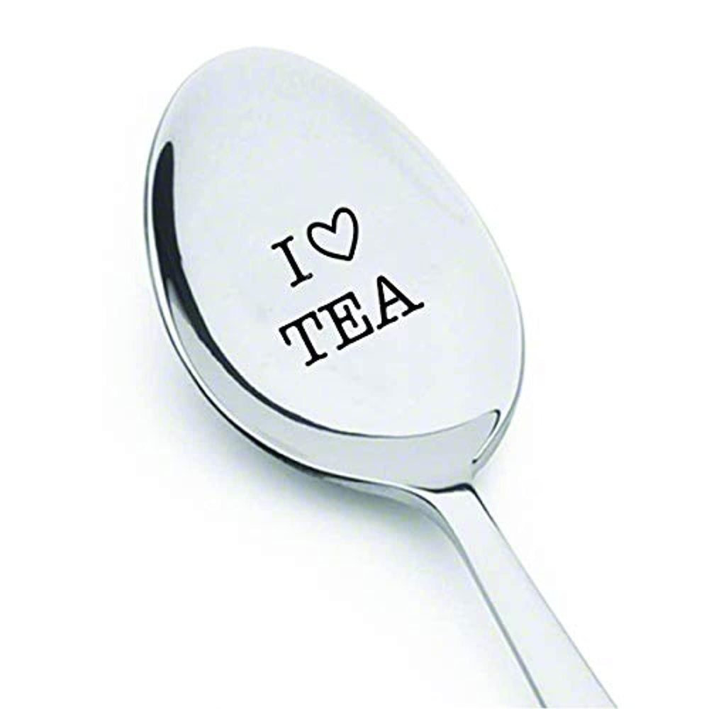 I LOVE TEA Spoon With Cute Little Heart- Perfect Gift For Tea Lovers -Tea drinker Present – Unisex Birthday Gifts - Best Selling Engraved Stainless Steel Spoon