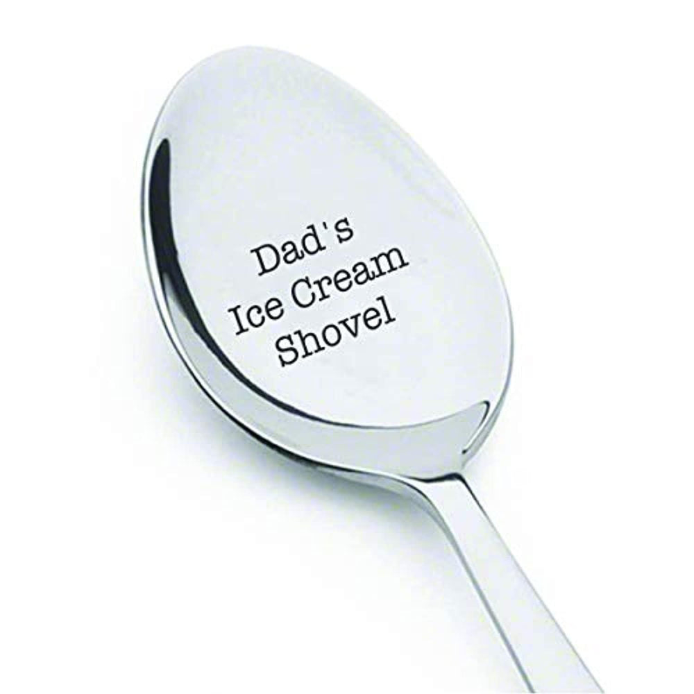 Dad's Ice Cream Shovel Spoon - Fathers Day Gift Ideas - Engraved Spoon - Dad Gifts From Daughter - Birthday Gifts For Dad - Creative Items - Stainless Steel Spoon - Size Of 7 Inches