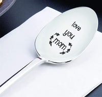 Engraved Stainless Steel Coffee Spoon  for Mother - Love You Mom Spoon Gift for Mom - Personalized Birthday Gift for Mama
