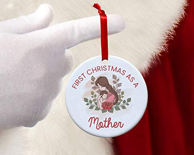 First Christmas as Mother New Mom Christmas Ornament -1st Christmas as Mommy new mother keepsake gift- Babies first Christmas ornament 2019 -Lady baby Round 2.75 inch Xmas tree decoration ideas