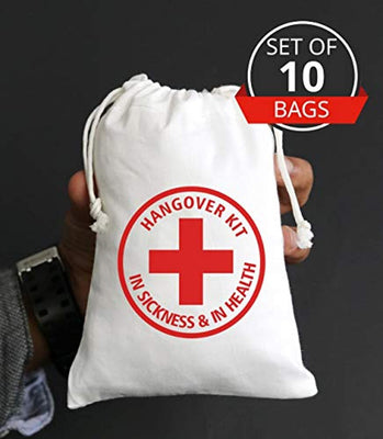 IN SICKNESS AND IN HEALTH| Hangover Kit Gift Bags| Wedding Cotton Muslin  Recovery Kit Bags