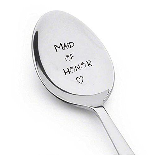 Maid Of Honor With Little Ring and Heart - Silverware Spoon - Wedding-Personalized Spoon-Gift-Flatware-Trendy-Bridesmaid-Gift Cute Spoon - Engraved Spoon - Spoon Gift - BOSTON CREATIVE COMPANY