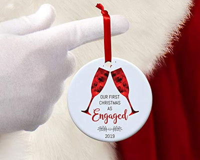 Our First Christmas as Engaged Ornament 2019-Round Champagne 1st Engagement Christmas Tree Decorations Gift for Groom and Bride to be-Just Married New Home Xmas Hanging Decor