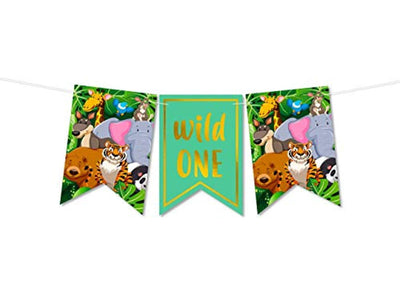 Wild One Banner Jungle Theme Party Supplies -safari First Birthday Decorations Boy Or Girl-High Chair Smash Banner Decorating Kit -1st Animal Birthday Party Supplies Backdrop One Year Old Boy